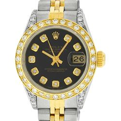 Rolex Ladies 2 Tone 14K Black Diamond Lugs Datejust Wristwatch