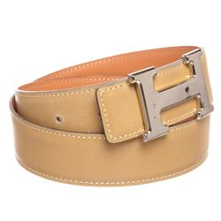 Hermes Beige Leather Reversible Constance H Palladium Belt 70