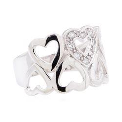 0.12 ctw Diamond Heart Motif Ring - 10KT White Gold