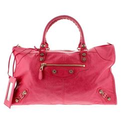 Balenciaga Coral Pink Lambskin Leather Rose Gold Giant 12 Satchel Handbag
