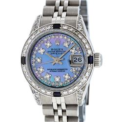Rolex Ladies Stainless Steel Diamond Lugs Blue MOP String Diamond Datejust Wrist