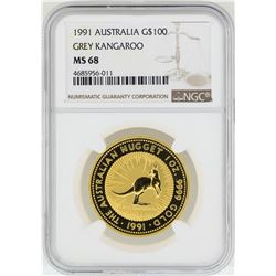 1991 $100 Australia Grey Kangaroo Gold Coin NGC MS68