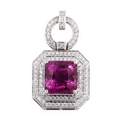 17.63 ctw Pink Tourmaline And Diamond Pendant - 14KT White Gold