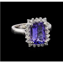 3.25 ctw Tanzanite and Diamond Ring - 14KT White Gold