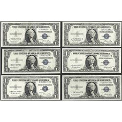 Lot of (6) 1935E $1 Silver Certificate Notes