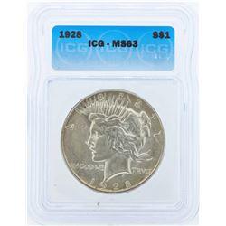 1928 $1 Peace Silver Dollar Coin ICG MS63
