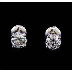 1.04 ctw Diamond Stud Earrings - 14KT White Gold