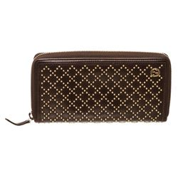 Gucci Dark Brown Leather Diamante Studded Zippy Wallet