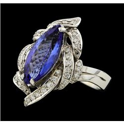 3.81 ctw Tanzanite and Diamond Ring - 14KT White Gold