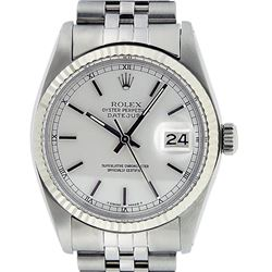 Rolex Mens Stainless Steel 36MM Silver Index Fluted Bezel Datejust Wristwatch