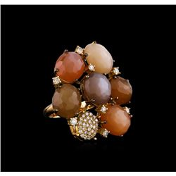 25.14 ctw Sunstone and Diamond Ring - 18KT Yellow Gold