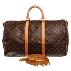 Louis Vuitton Monogram Canvas Leather Keepall 50 cm Bandouliere Duffle Bag