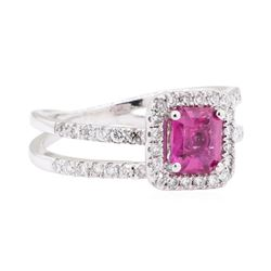 1.76 ctw Pink Sapphire And Diamond Ring - 14KT White Gold