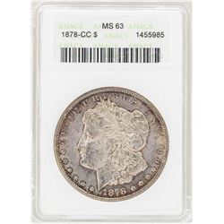 1878-CC $1 Morgan Silver Dollar Coin ANACS MS63