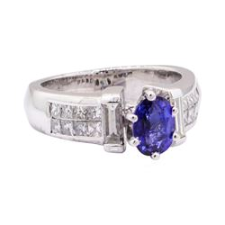 2.29 ctw Blue Sapphire And Diamond Ring - Platinum