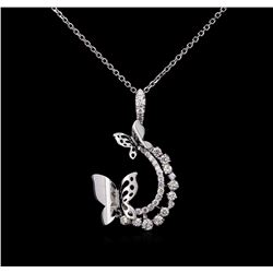 0.61 ctw Diamond Pendant With Chain - 14KT White Gold