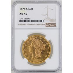 1878-S $20 Liberty Head Double Eagle Gold Coin ANACS MS55
