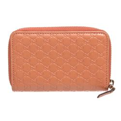 Gucci Peach MicroGuccissima Leather Card Holder Wallet