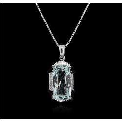 14KT White Gold 13.00 ctw Aquamarine and Diamond Pendant With Chain