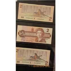 STOCK SHEET OF CANADA $2 BILLS