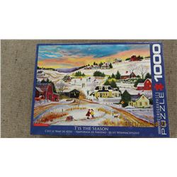 "LIKE NEW - 1000 PIECE ""RED BARN & 2 KIDS"" PUZZLE"