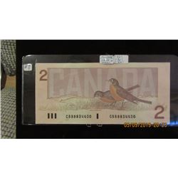 1986 CANADA $2 BILL (BIRD SERIES)