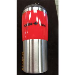 NEW - KBR SILVER/RED THERMOS TRAVEL MUG