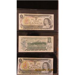 1973 STOCK SHEET CANADA $1 BILLS