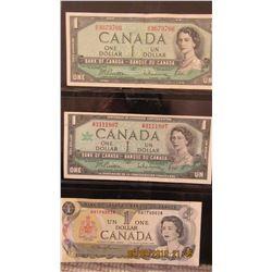 1954, 1967, & 1973 CANADA STOCK SHEET OF $1 BILLS