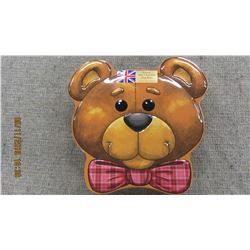 NEW - LARGE TEDDY BEAR TIN WITH BISCUITS