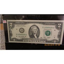 USA GREEN SEAL LEGAL TENDER UNCIRCULATED $2 BANK NOTE