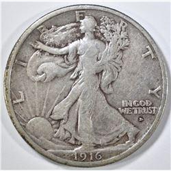1916-D  WALKING LIBERTY HALF DOLLAR, FINE