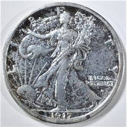 1917-D OBVERSE WALKING LIBERTY HALF DOLLAR, AU
