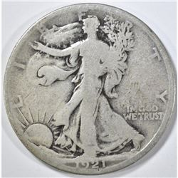 1921-S WALKING LIBERTY HALF DOLLAR, GOOD