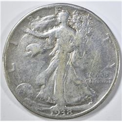 1938-D WALKING LIBERTY HALF FINE rim bumps