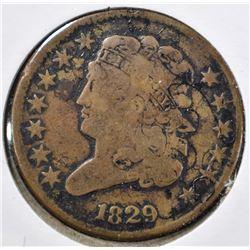 1829 HALF CENT FINE