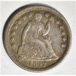 1842 SEATED HALF DIME, CH XF/AU