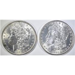 1885-O, 1900-O MORGAN DOLLARS CH BU