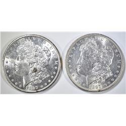 1887-P,O MORGAN DOLLARS CH BU
