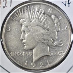 1921 PEACE DOLLAR, VF