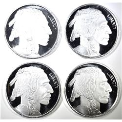 4-ONE OUNCE .999 SILVER BUFFALO/INDIAN ROUNDS