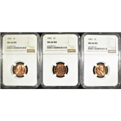 3 - 1961 LINCOLN CENTS NGC MS66RD