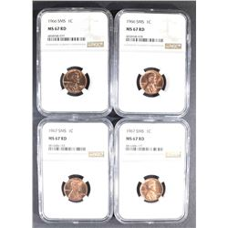 2-1966 & 2-67 SMS LINCOLN CENTS, NGC MS-67 RED
