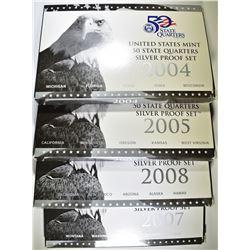2004, 05, 07 & 08 U.S. SILVER QUARTER  PROOF SETS