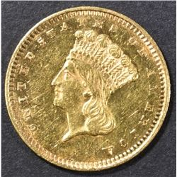 1857 $1 GOLD INDIAN PRINCESS  BU PL