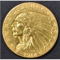 1914 $2.5 GOLD INDIAN HEAD  BU