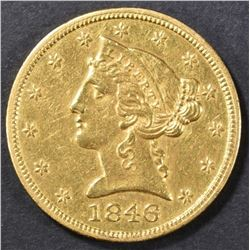 1846 $5 GOLD LIBERTY HEAD  BU