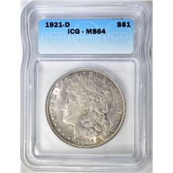 1921-D MORGAN DOLLAR  ICG MS-64