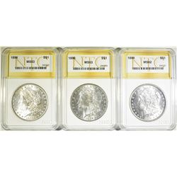 3 NTC BU MORGAN DOLLARS  1889 & (2) 96