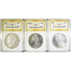 3 MORGAN DOLLARS NTC GRADED
